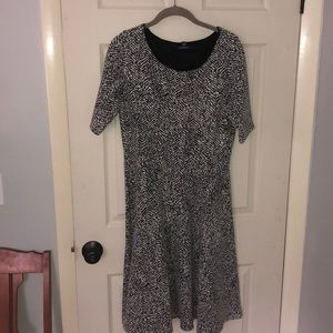 Lands End Black and White Pattern Dress